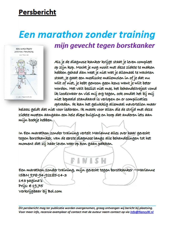 Persbericht Een marathon zonder training -  Marian van Tussenbroek