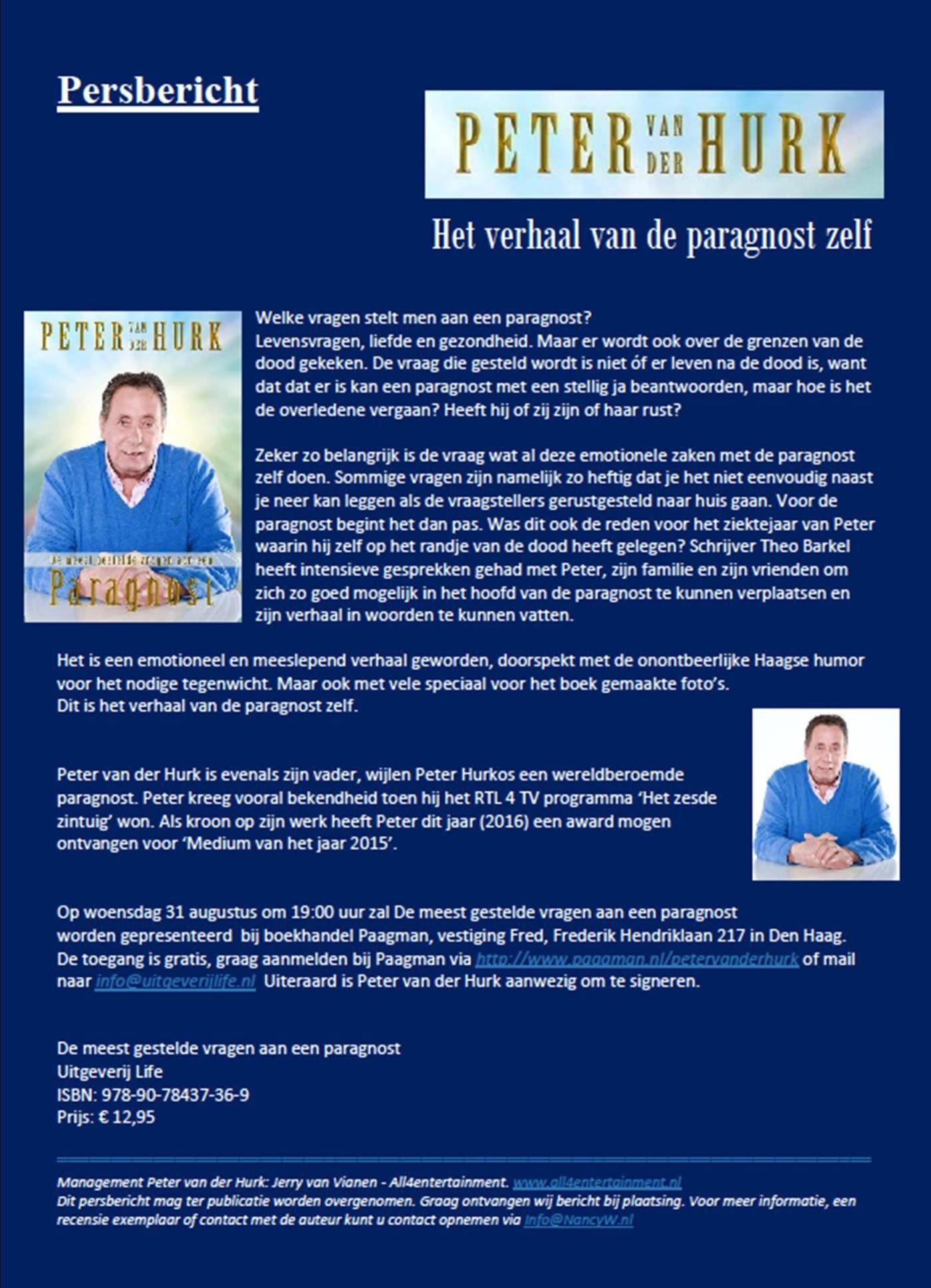 Persbericht Peter van der Hurk